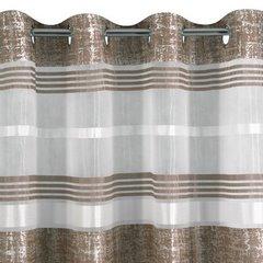 Firana gotowa poziome pasy 140x250cm organdyna - 140 X 250 cm - brązowy 6