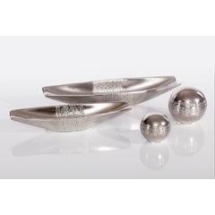 Patera ceramiczna łódka srebrna 33 x 10 x 6 cm - 33 X 10 X 6 cm - srebrny 2