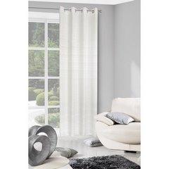 Zasłona biała styl skandynawski z połyskiem biała 140 X 250 cm PRZELOTKI - 140x250 - biały 1