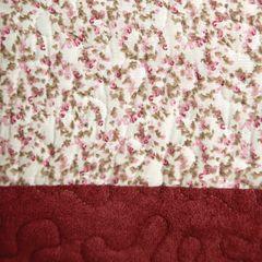 Narzuta dwustronna z motywem kwiatowym bordowy+kremowy 220x240cm - 220 X 240 cm - wielokolorowy 7