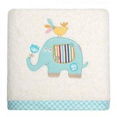 Ręcznik dziecięcy z aplikacją z niebieskim słonikiem 50x90cm - 50 X 90 cm - kremowy 1