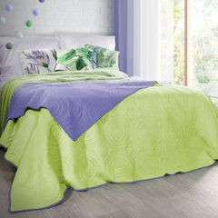 Narzuta dwustronna fiolet zieleń 220x240cm - 220 X 240 cm - jasnozielony/jasnofioletowy 1