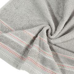 Ręcznik z bawełny z ozdobnym stebnowaniem 70x140cm - 70 X 140 cm - srebrny 9