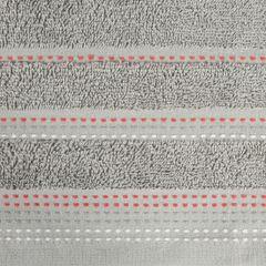 Ręcznik z bawełny z ozdobnym stebnowaniem 70x140cm - 70 X 140 cm - srebrny 4