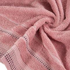 Ręcznik z bawełny z ozdobnym stebnowaniem 50x90cm - 50 X 90 cm - pudrowy 9