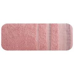 Ręcznik z bawełny z ozdobnym stebnowaniem 50x90cm - 50 X 90 cm - pudrowy 2