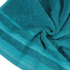 Ręcznik z bawełny z ozdobnym stebnowaniem 50x90cm - 50 X 90 cm - turkusowy 5