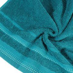 Ręcznik z bawełny z ozdobnym stebnowaniem 70x140cm - 70 X 140 cm - turkusowy 9