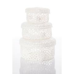 Koszyczek koronkowy 12 x 8 cm 100% bawełna - ∅ 12 X 8 cm - biały 2