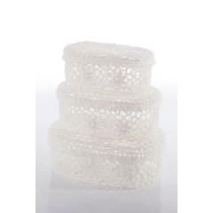 Koszyczek koronkowy 18 x 12 x 8 cm 100% bawełna - 18 X 12 X 8 cm - biały 2