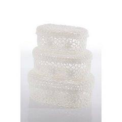 Koszyczek koronkowy 18 x 12 x 8 cm 100% bawełna - 18x12x8 - biały 2