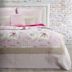 Narzuta patchwork kwiaty 220 x 240 cm - 220 X 240 cm - różowy 1