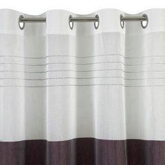 Zasłona biała z ciemnym pasem przelotki 140x250cm - 140x250 - biały 4