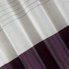 Zasłona biała z fioletowym pasem przelotki 140x250cm - 140 X 250 cm - biały/fioletowy 3