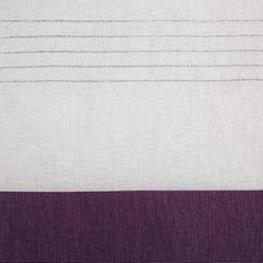 Zasłona biała z fioletowym pasem przelotki 140x250cm - 140 X 250 cm - biały/fioletowy 4