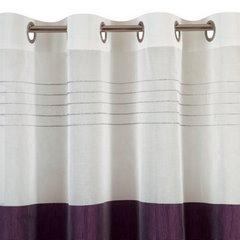 Zasłona biała z fioletowym pasem przelotki 140x250cm - 140 X 250 cm - biały/fioletowy 6