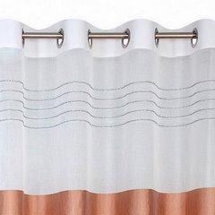 Zasłona biała z beżówym pasem przelotki 140x250cm - 140 X 250 cm - biały/beżowy 3