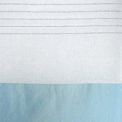 Zasłona biała z niebieskim pasem przelotki 140x250cm - 140 X 250 cm - biały/niebieski 4