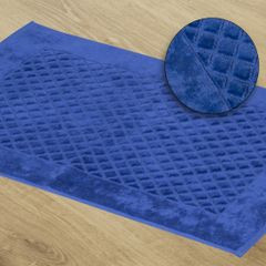 Dywanik bawełna chabrowy 60 x 90 cm - 60 X 90 cm - ciemnoniebieski 1