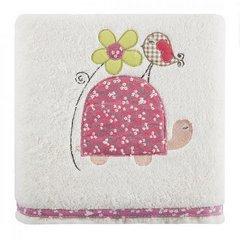 Dziecięcy ręcznik kąpielowy żółwik różowy 50x90 cm - 50 X 90 cm - kremowy 1