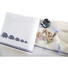 Dziecięcy ręcznik z króliczkami niebieski 50x90 cm - 50 X 90 cm - kremowy 5