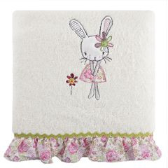 Dziecięcy ręcznik kąpielowy z falbanką różowy królik 50x90 cm - 50 X 90 cm - kremowy 1