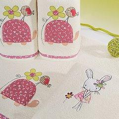 Dziecięcy ręcznik kąpielowy z falbanką różowy królik 50x90 cm - 50 X 90 cm - kremowy 7
