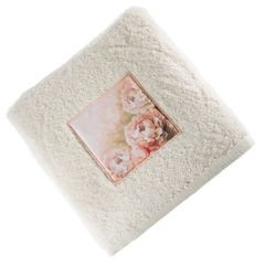 Ręcznik zdobiony wstawką z peoniami kremowy 50x90cm - 50 X 90 cm - kremowy 1