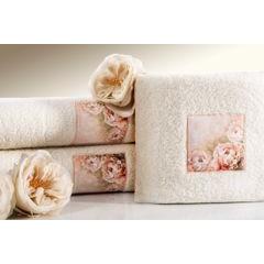 Ręcznik zdobiony wstawką z peoniami kremowy 50x90cm - 50 X 90 cm - kremowy 5