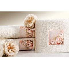 Ręcznik zdobiony wstawką z peoniami kremowy 50x90cm - 50 X 90 cm - kremowy 3