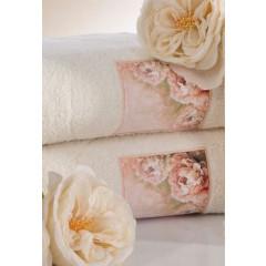 Ręcznik zdobiony wstawką z peoniami kremowy 50x90cm - 50 X 90 cm - kremowy 2