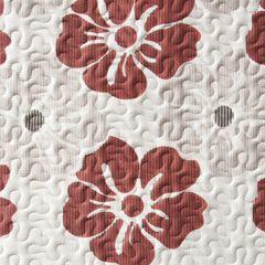 Narzuta dwustronna wzór w kwiaty bordowe+szare 220x240cm - 220 X 240 cm - popielaty/bordowy 7