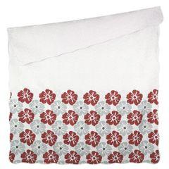 Narzuta dwustronna wzór w kwiaty bordowe+szare 220x240cm - 220 X 240 cm - popielaty/bordowy 3