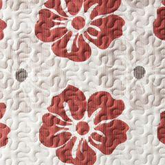 Narzuta dwustronna wzór w kwiaty bordowe+szare 220x240cm - 220 X 240 cm - popielaty/bordowy 4