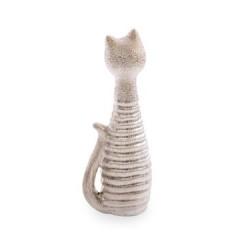 Figurka ceramiczna kot prążkowana faktura 27 cm - 10 X 7 X 27 cm - złoty 1