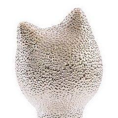 Figurka ceramiczna kot prążkowana faktura 27 cm - 10 X 7 X 27 cm - złoty 5
