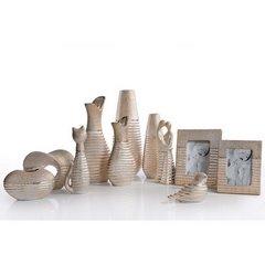 Figurka ceramiczna kot prążkowana faktura 27 cm - 10 X 7 X 27 cm - złoty 7
