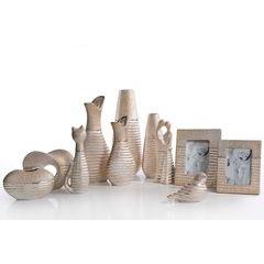 Figurka ceramiczna kot prążkowana faktura 27 cm - 10 X 7 X 27 cm - złoty 3
