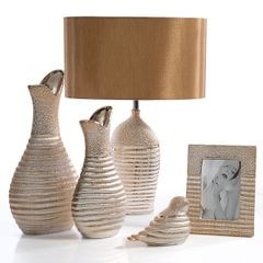 Figurka ceramiczna kot prążkowana faktura 27 cm - 10 X 7 X 27 cm - złoty 4