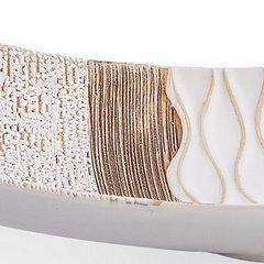 Patera ceramiczna łódka z wytłaczanym wzorem 46 x 14 x  - 46 X 14 X 10 cm - kremowy/beżowy 6
