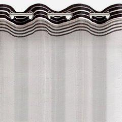 Zasłona z atłasowymi pasami biały+czarny przelotki 140x250cm - 140 X 250 cm - biały/czarny 2