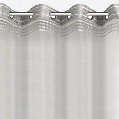 Zasłona z atłasowymi pasami biały+srebrny przelotki 140x250cm - 140 X 250 cm - biały/stalowy 6