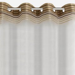 EVI DELIKATNA ZASŁONA Z ORGANTYNY BEŻOWA W PASY na przelotkach 140x250 cm - 140 X 250 cm - beżowy/brązowy 4