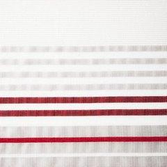 EVI SREBRNA LEKKA ZASŁONA Z ATŁASOWYMI PASAMI W KOLORZE CZERWONYM NA PRZELOTKACH 140x250 cm EUROFIRANY - 140 X 250 cm - stalowy/czerwony 3