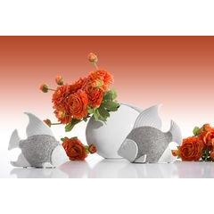 Figurka ceramiczna srebrne wiśnie  - 12 X 6 X 11 cm - srebrny 3