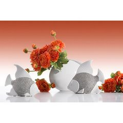 Wazon ceramiczny biało-srebrny nowoczesny 17 cm - 27 X 11 X 17 cm - srebrny/biały 4