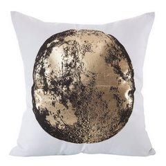 Poszewka czarno-złoty nadruk księżyc 45 x 45 cm - 45x45 - biały / złoty 1