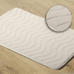Dywanik łazienkowy wzór z falą kremowy 50x70cm - 50 X 70 cm - kremowy 1