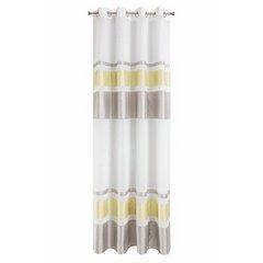 Zasłona poziome pasy nowoczesny wzór biały szary złoty przelotki 140x250cm - 140 X 250 cm - popielaty/złocisty 4