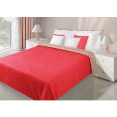 Narzuta dwustronna czerwony beż 230 x 260 cm - 230 X 260 cm - czerwony/jasnobrązowy 1